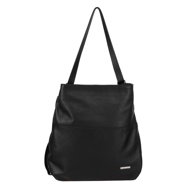Torebka skórzana worek/plecak z zamkami czarna (TS-5860-01)