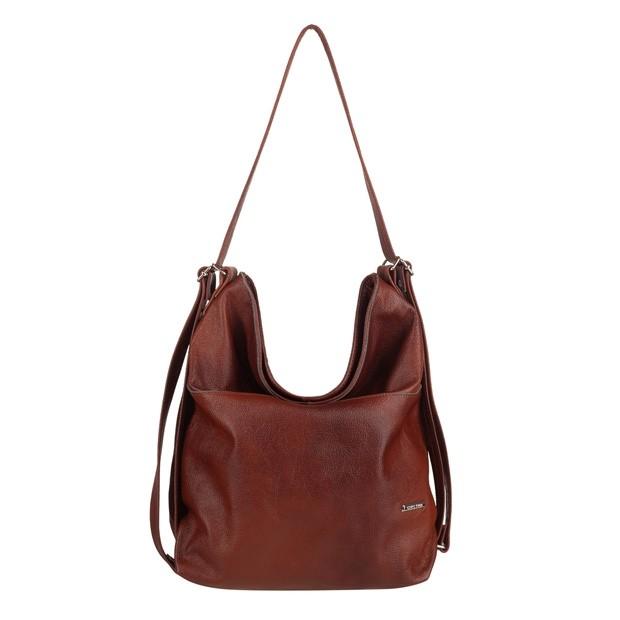 Torebka skórzana worek/plecak z zamkami brązowa (TS-5860-02)