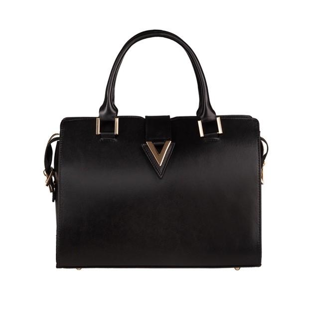 Włoska torebka kuferek skóra matowa czarna (TS-5861-01)