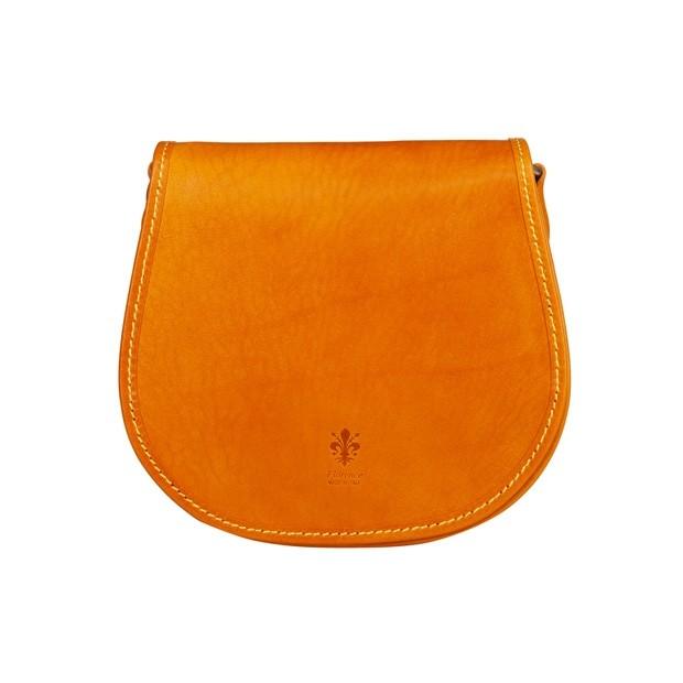 Włoska skórzana torebka listonoszka żółta (TS-5864-12)