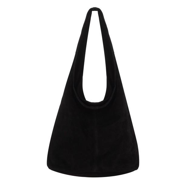 Włoska torebka worek zamsz naturalny czarna (TS-5866-01)
