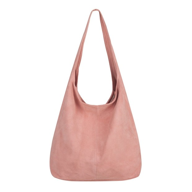 Włoska torebka worek zamsz naturalny różowa (TS-5866-10)