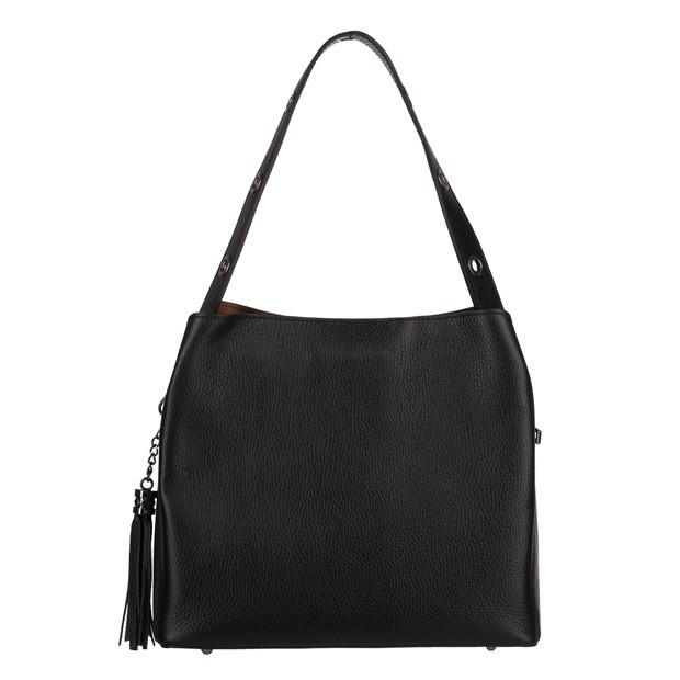 Włoska skórzana torebka kuferek z frędzlami czarna (TS-5870-01)