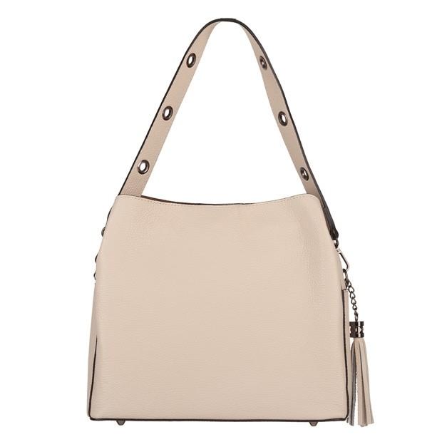 Włoska skórzana torebka kuferek z frędzlami kremowa/ecru (TS-5870-13)
