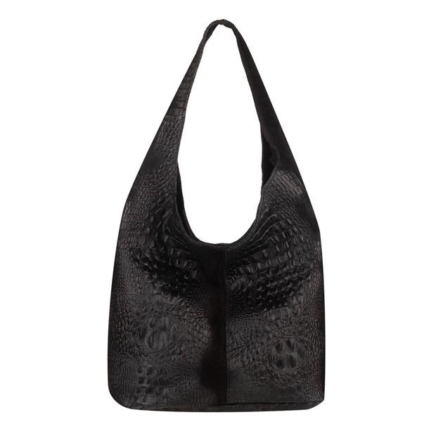 Włoska torebka worek zamsz naturalny krokodyl czarna (TS-5875-01)
