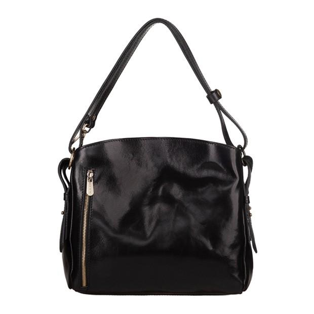 Włoska dwukomorowa klasyczna torebka skórzana czarna (TS-5876-01)
