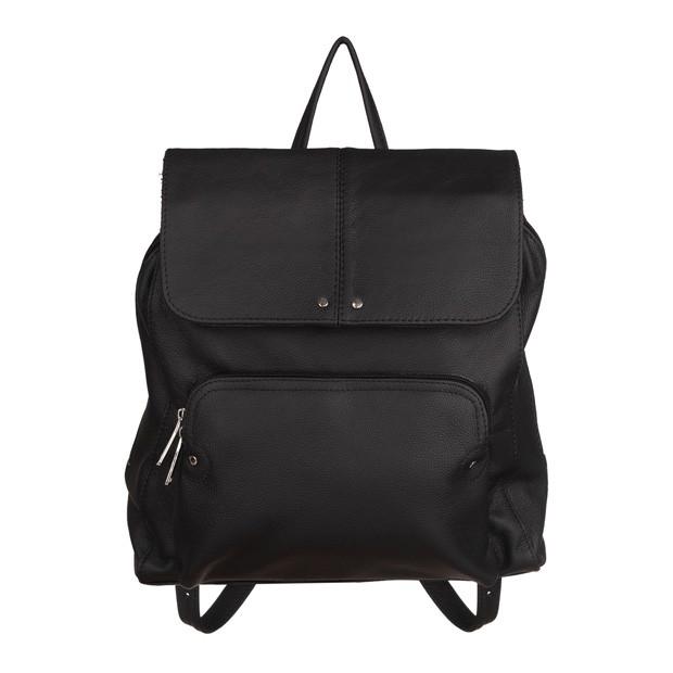 Skórzany plecak trzykomorowy z kieszenią na przodzie czarny (TS-5883-01)
