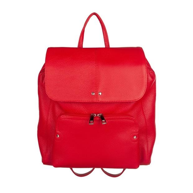 Skórzany plecak trzykomorowy z kieszenią na przodzie czerwony (TS-5883-06)