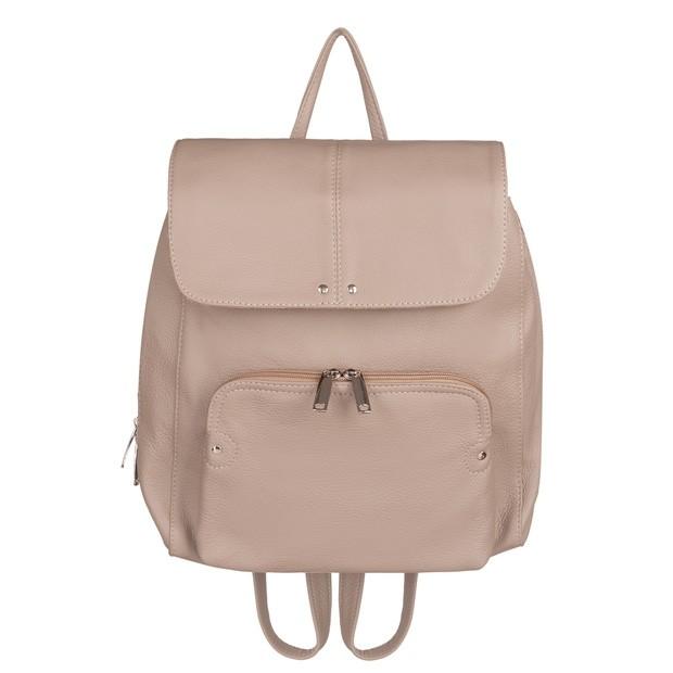 Skórzany plecak trzykomorowy z kieszenią na przodzie beżowy (TS-5883-08)