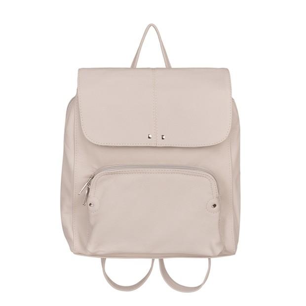 Skórzany plecak trzykomorowy z kieszenią na przodzie szary (TS-5883-09)