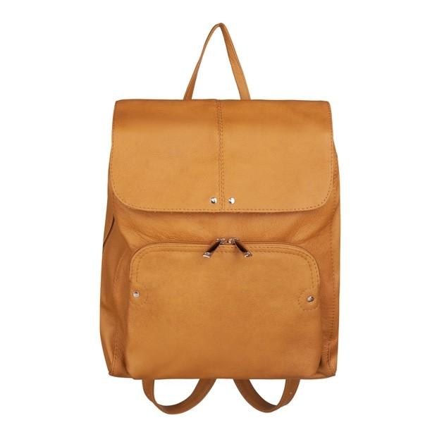 Skórzany plecak trzykomorowy z kieszenią na przodzie żółty (TS-5883-12)