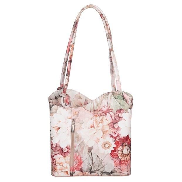 Florence - Skórzana włoska torebka plecak 2w1 kwiaty (TS-5885-72)