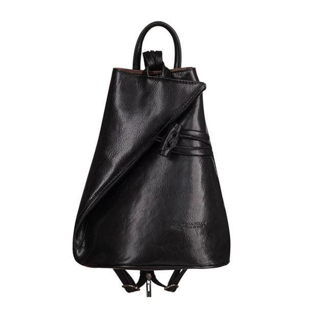 VERA PELLE - Włoski skórzany plecak czarny (TS-5888-01)