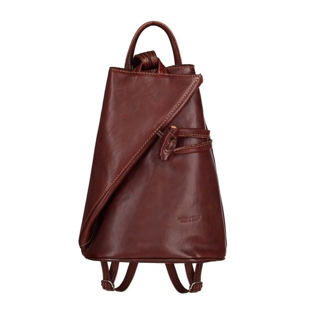 VERA PELLE - Włoski skórzany plecak brązowy (TS-5888-02)