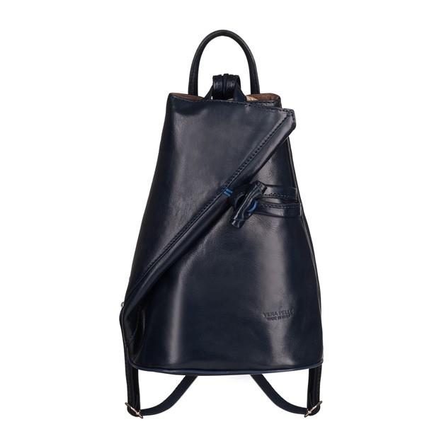VERA PELLE - Włoski skórzany plecak granatowy (TS-5888-04)