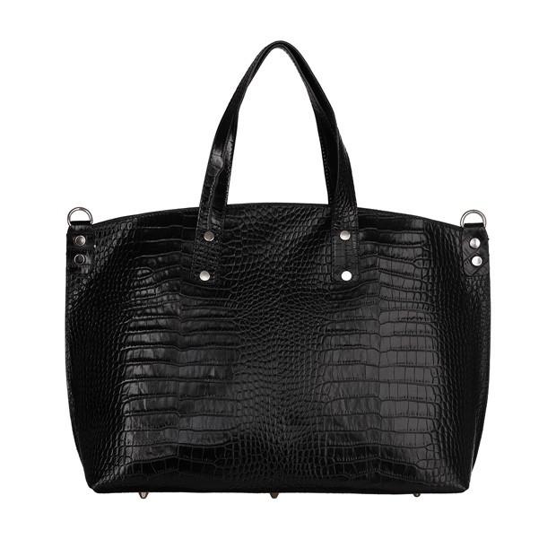 Włoska skórzana klasyczna torebka A4 krokodyl czarna (TS-5894-01)
