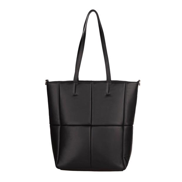 Włoska duża skórzana torebka na ramię pikowana czarna (TS-5897-01)