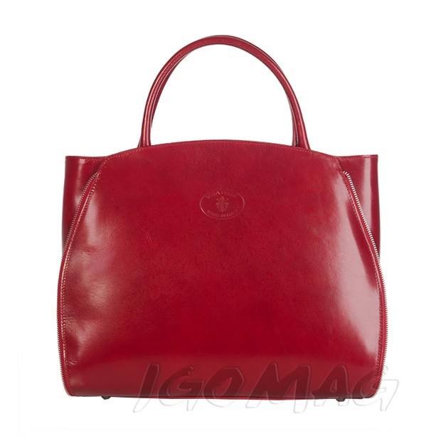 9e398400c0ccc Vera Pelle - Włoska elegancka torebka skórzana A4 bordowa (1283)