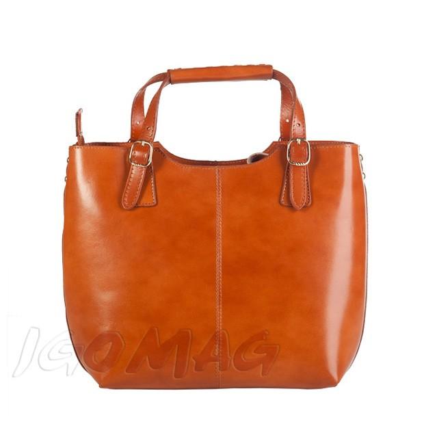Włoska skórzana torebka shopper bag złote okucia A4 camel (1248)
