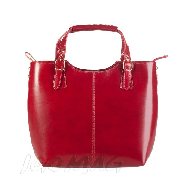 Włoska skórzana torebka shopper bag złote okucia A4 bordowa (1238)