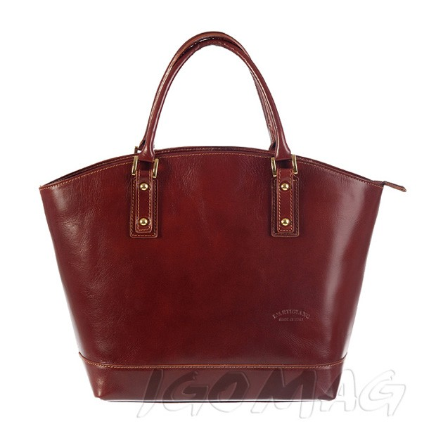 Włoska skórzana torebka typu shopper bag A4 brązowa (0870)