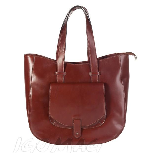 Włoska skórzana torebka typu shopper bag A4 brązowa (1270)