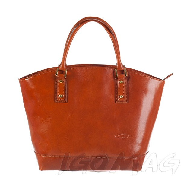 Włoska skórzana torebka typu shopper bag A4 camel (0874)