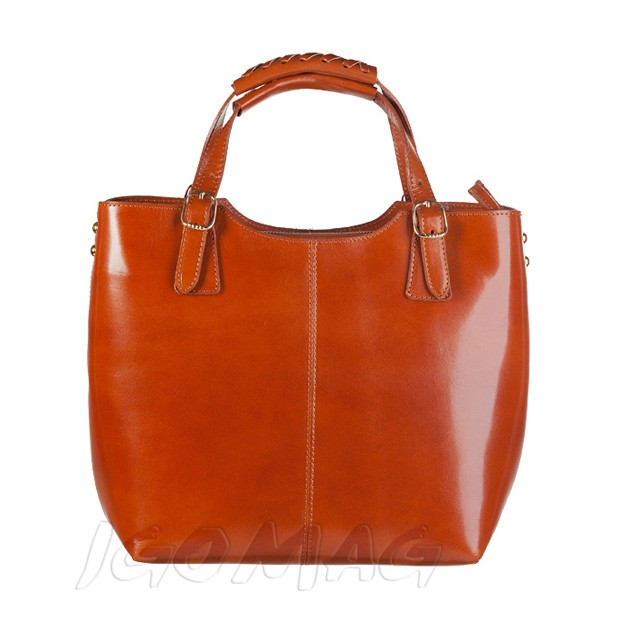 Włoska skórzana torebka shopper bag złote okucia A4 camel (0931)