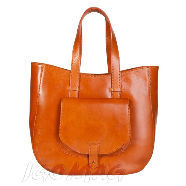 Włoska skórzana torebka typu shopper bag A4 camel (1017)