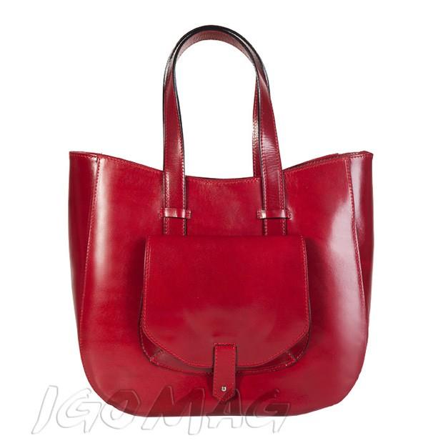 Włoska skórzana torebka typu shopper bag A4 bordowa (1016)