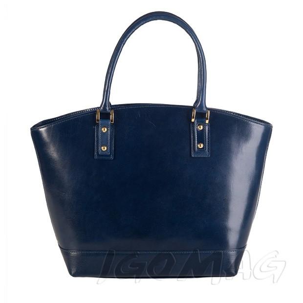 Włoska skórzana torebka typu shopper bag A4 granatowa (1250)