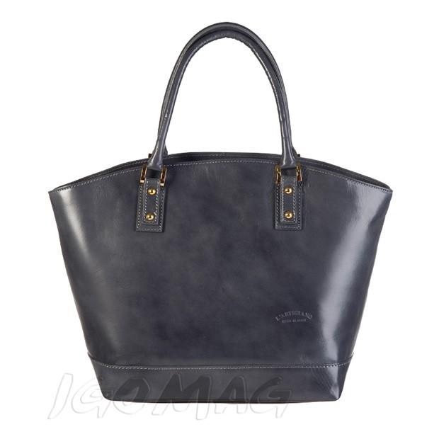 Włoska skórzana torebka typu shopper bag A4 grafitowa (0930)