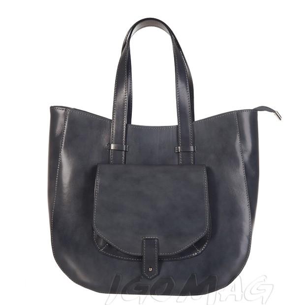 Włoska skórzana torebka typu shopper bag A4 grafitowa (1281)