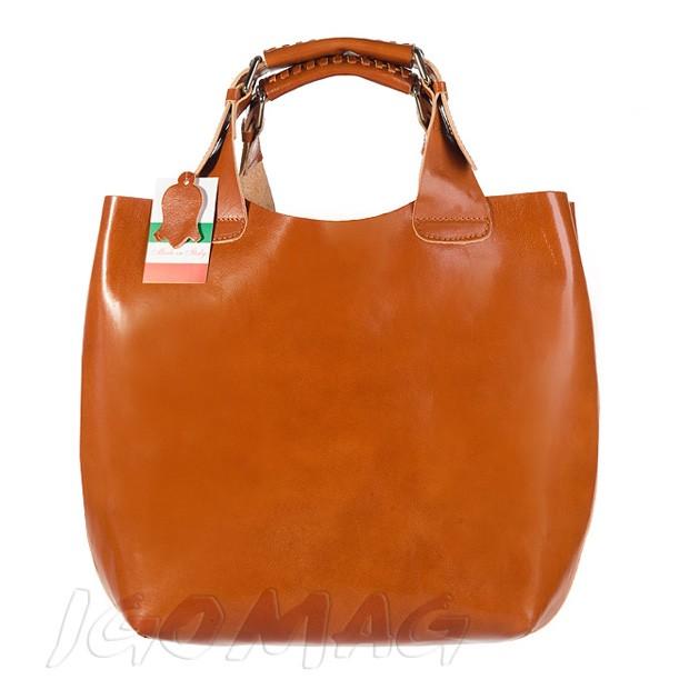 Włoska stylowa torebka skórzana A4 camel (0642)