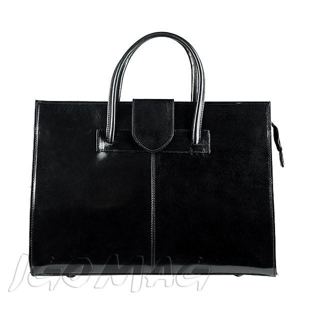 Włoska torebka aktówka skórzana czarna (0256)