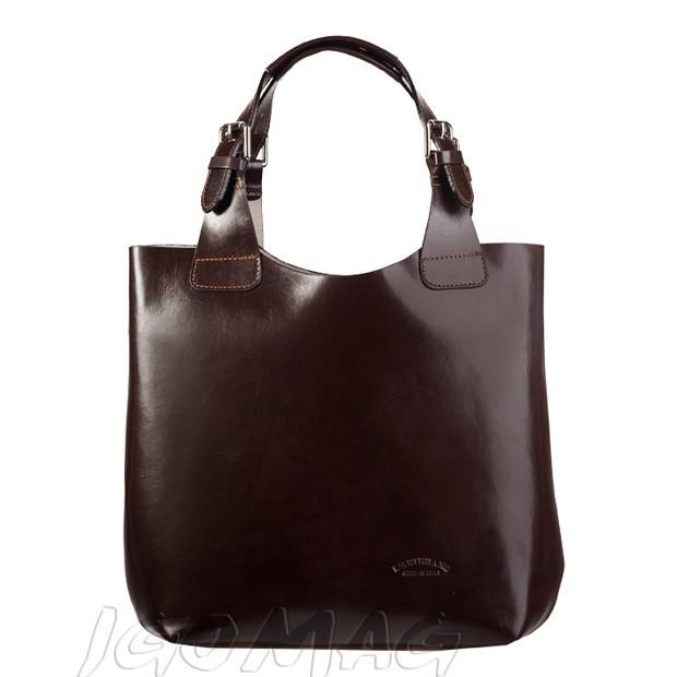 Włoska zgrabna torebka skórzana ciemny brąz (0942)