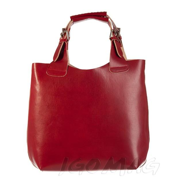 Włoska zgrabna torebka skórzana pleciona rączka czerwona (0876)